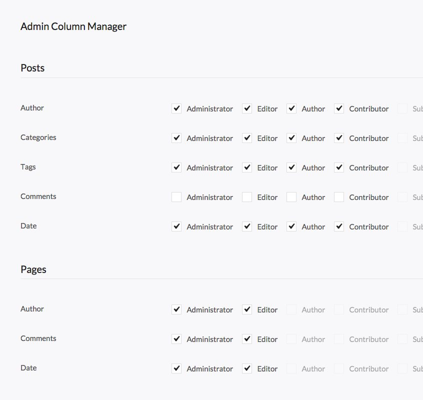 Admin Column Manager Tool
