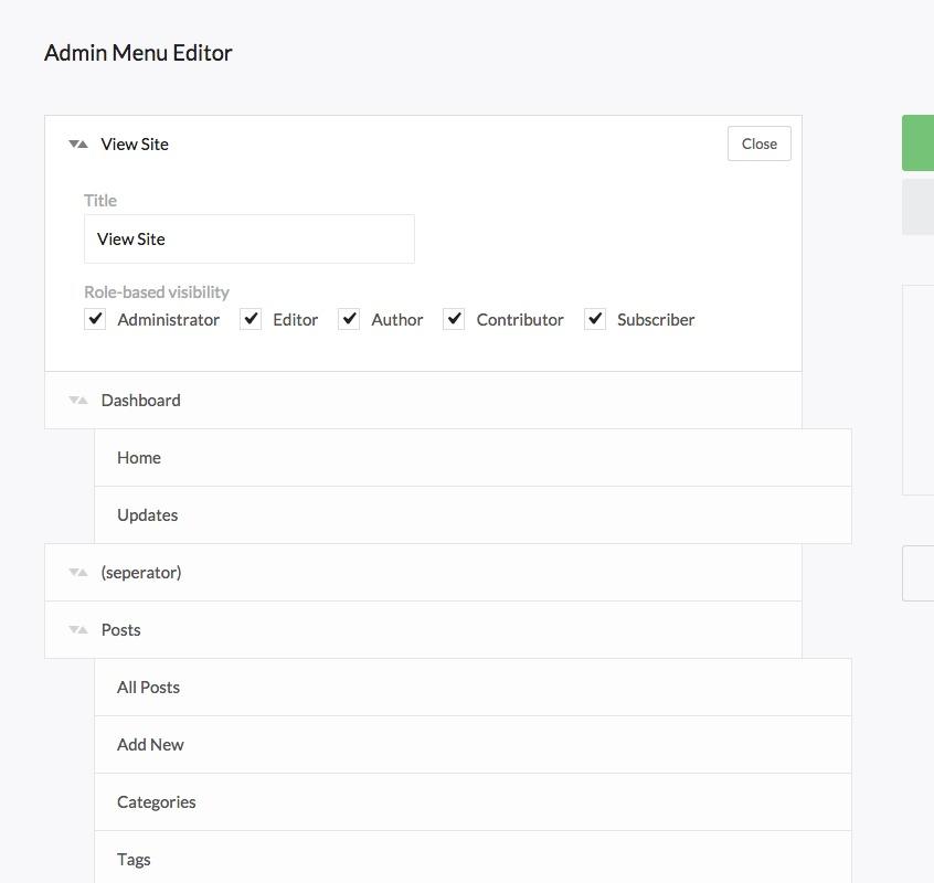 Admin Menu Editor Tool